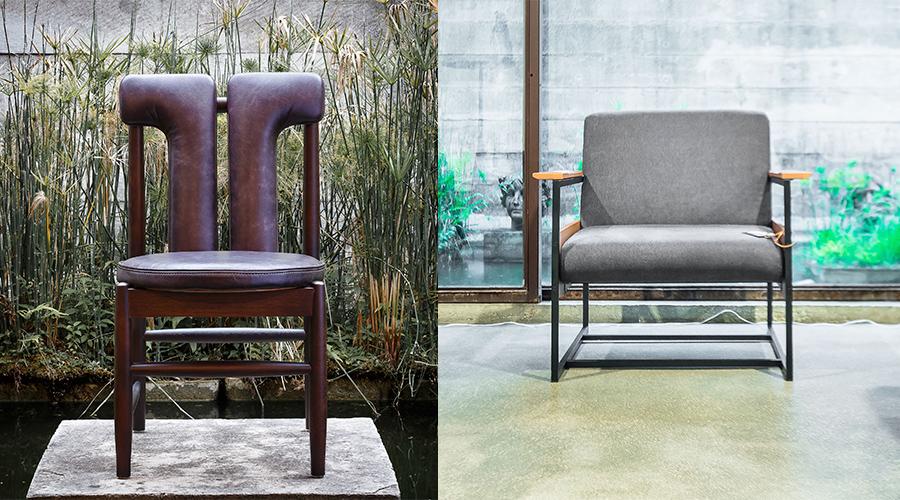 Cadeira Face, de Zanini de Zanine, e Poltrona Trentini, de Bruno Faucz. Peças integram coleção da Moora Mobília Brasileira