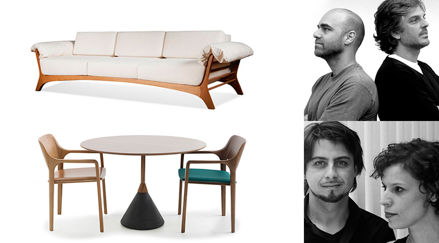 Peças integrantes da coleção Moora Mobília Brasileira: Sofá Trópicos, da Lattoog, e cadeira Clave, da Ovo