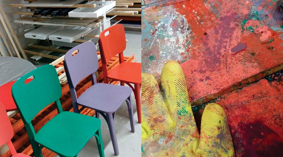 Cadeiras produzidas pela curitibana Nossacasa com resíduos de fabricação de mobiliário