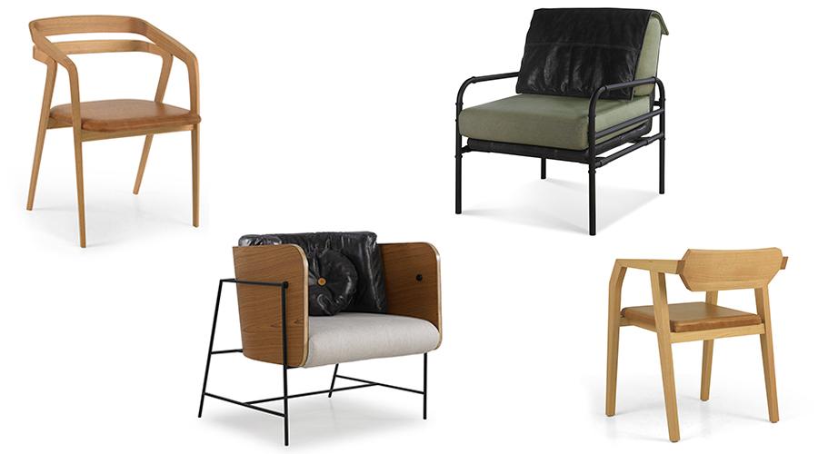 Peças da Moora Mobília Brasileira: Cadeira Joaquim (Bernardo Senna), Poltrona Vip (Bruno Faucz), Poltrona Aura (Angelo Duvoisin) e Cadeira Elga (Zanini de Zanine)
