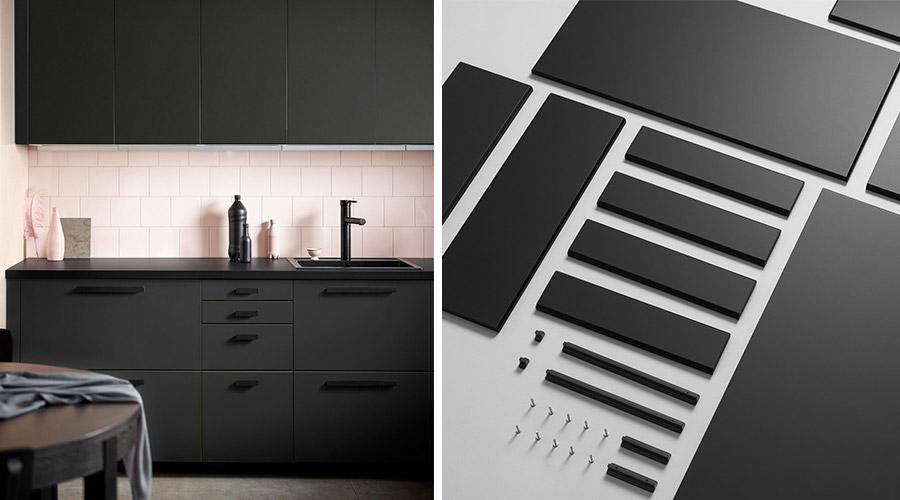 A IKEA estudou durante dois anos uma forma de incluir o reaproveitamento de garrafas PET (plástico) na sua linha de móveis, com a cozinha Kungsbacka