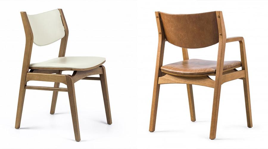 Rejane Carvalho Leite desenhou a cadeira Suly, com espaldar e o revestimento em couro natural