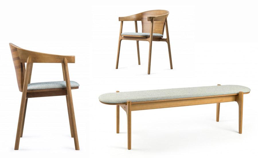 Inspiradas pelas curvas do modernismo, o Banco e Cadeira Planalto unem simplicidade, linhas orgânicas e acabamento manual