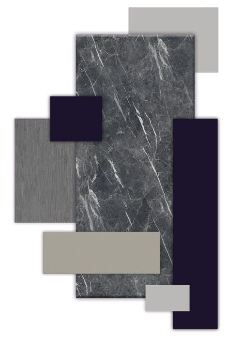 Os lançamentos Laminato Pietra Milano, Laminato Cristallo e Laminato Cobalto, além dos padrões Legno Riscato Polvere e Laccato Roxo integram a paleta Intuição e Experiência da Bontempo