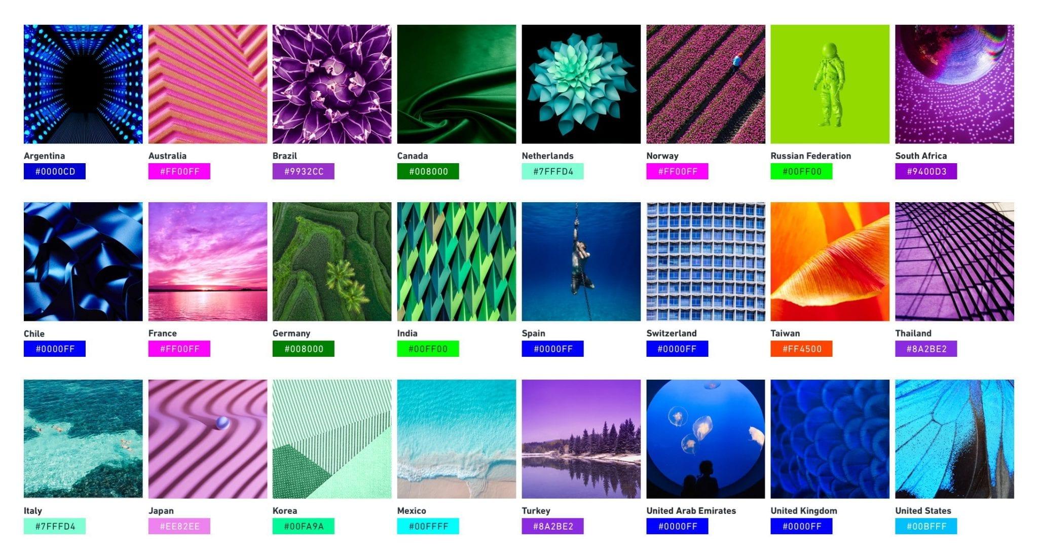 De uma orquídea escura no Brasil a um verde musgo na Coreia do Sul, essas tonalidades mostram as escolhas favoritas em diferentes regiões para a Shutterstock